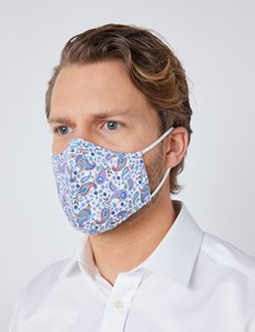 White & Blue Paisley Face Mask - Cotton