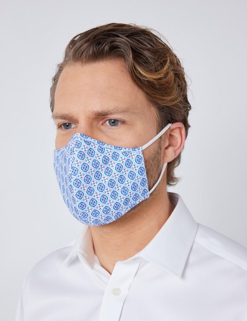 White & Navy Geometric Print Face Mask - Cotton