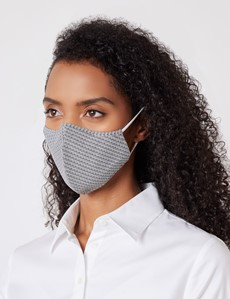 White & Black Zig Zag Print Face Mask - Cotton