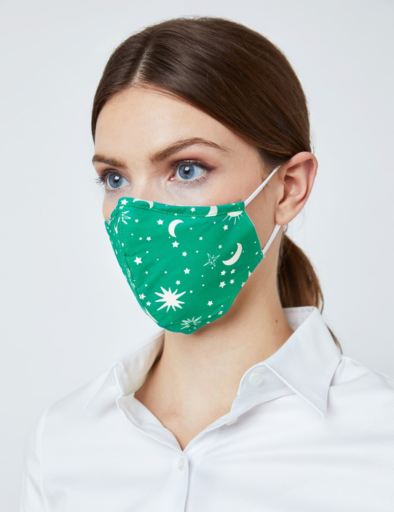 Green & Cream Moon and Starts Print Face Mask - Cotton