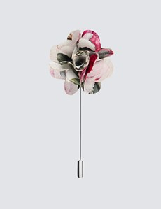 Men's White & Pink Cotton Floral Lapel Pin