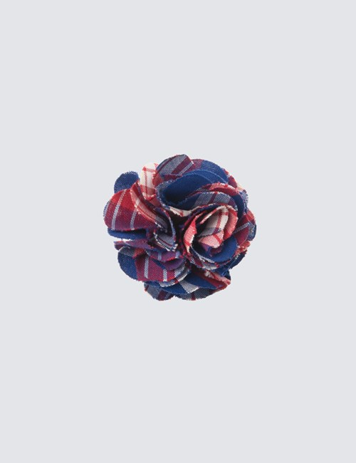 Men's Red & Blue Check Cotton Lapel Pin