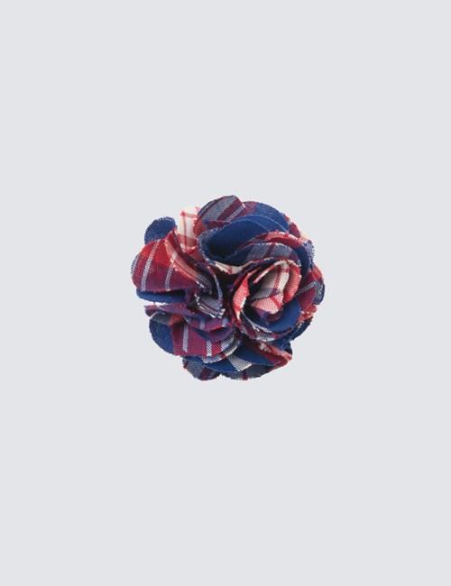 Men's Red & Blue Plaid Cotton Lapel Pin