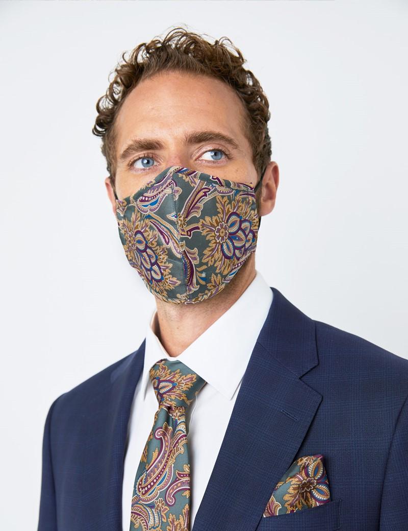 Mund-Nasen-Maske aus Seide – Behelfsmundschutz – dreilagig mit Mikrofaser Filter – grün-rot Paisley