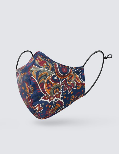 Navy & Orange Paisley Face Mask - 100% Silk