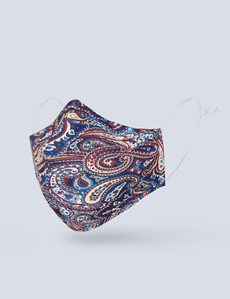 Navy & Red Paisley Silk Face Mask