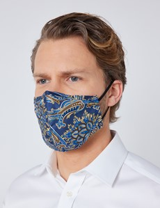 Navy & Brown Paisley Silk Face Mask