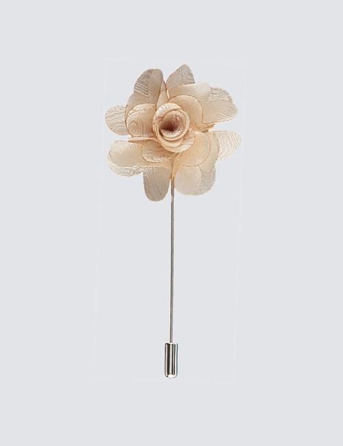 Men's Cream Paisley Silk Lapel Pin