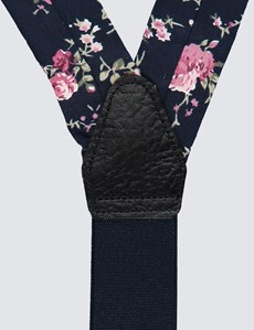 Men's Quality Cotton Navy & Pink  Floral Suspenders