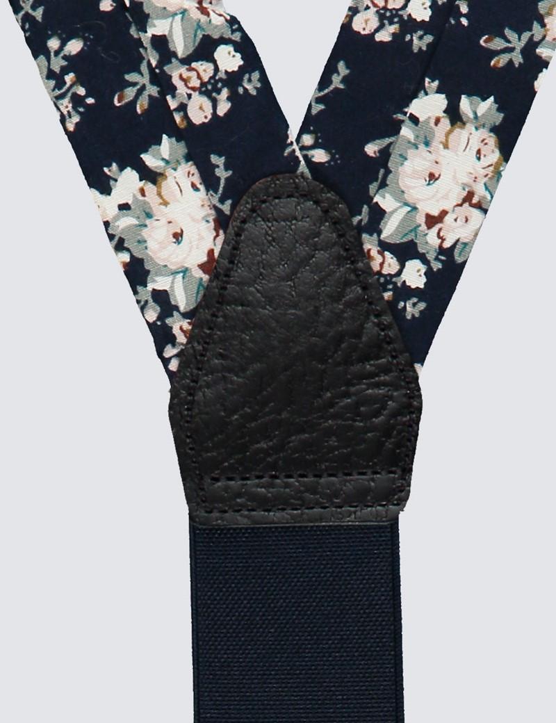 Men's Quality Cotton Navy & White  Floral Braces