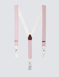 Men's Quality Pink Floral Suspenders