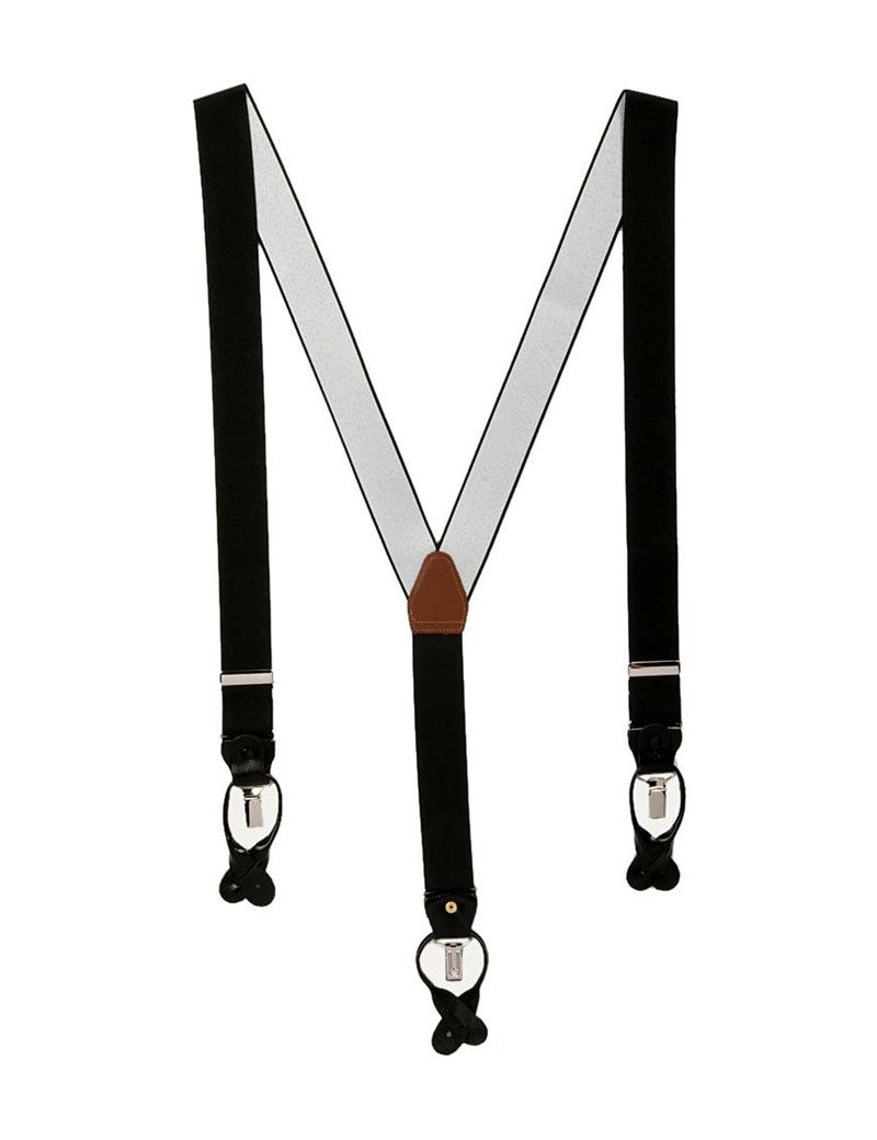 Men's Quality Black Suspenders