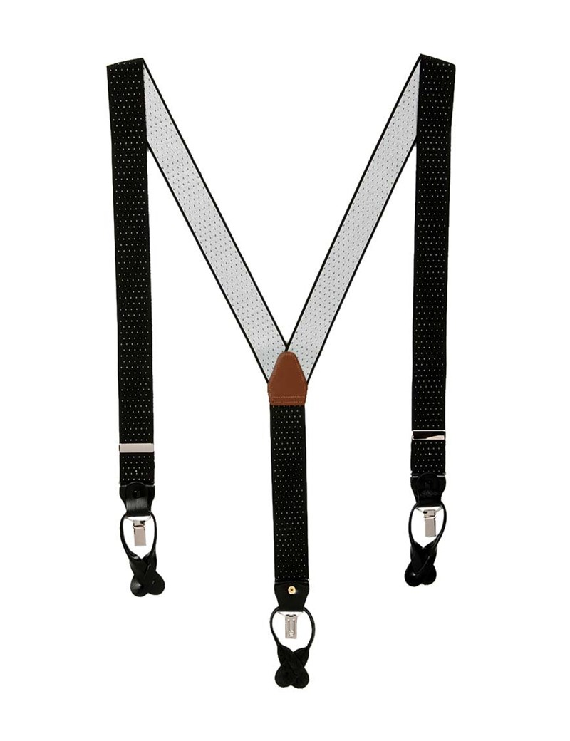 Men's Quality Black & White Pin Dot Suspenders