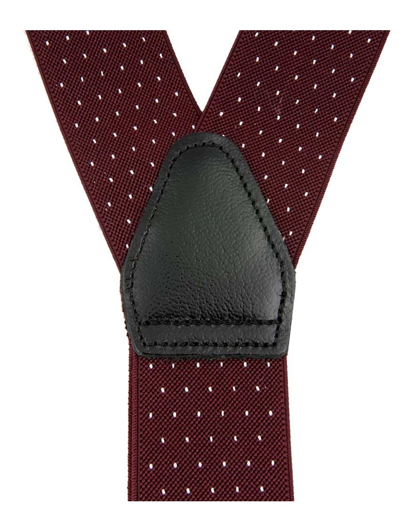 Men's Quality Wine & White Pin Dot Braces