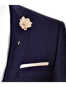 Men's Champagne Silk Flower Lapel Pin