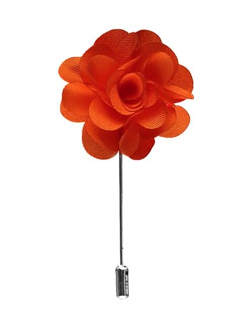 Men's Orange Silk Flower Lapel Pin