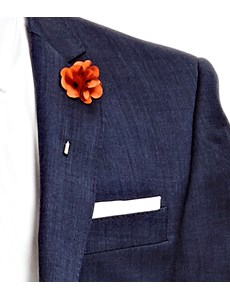 Men's Orange Silk Flower Lapel Pin