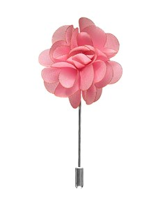Men's Light Pink Silk Flower Lapel Pin