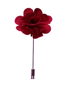 Men's Burgundy Silk Flower Lapel Pin