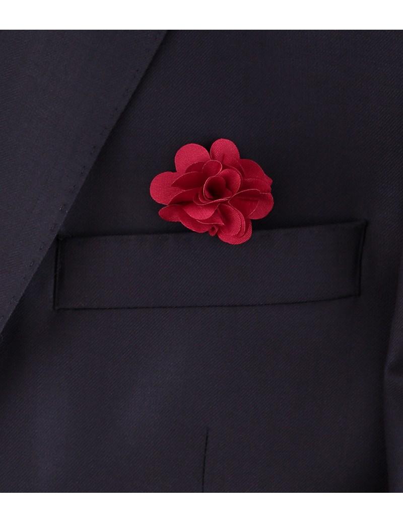 Men's Burgundy Silk Flower Lapel Pin