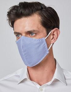 Mund-Nasen-Maske aus Stoff – Behelfsmundschutz – Baumwolle dreilagig – blau-weiß gestreift