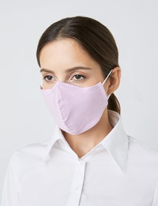 Horizontal Stripe Pink & White Face Mask - Cotton