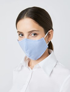 Houndstooth Light Blue Face Mask - Cotton