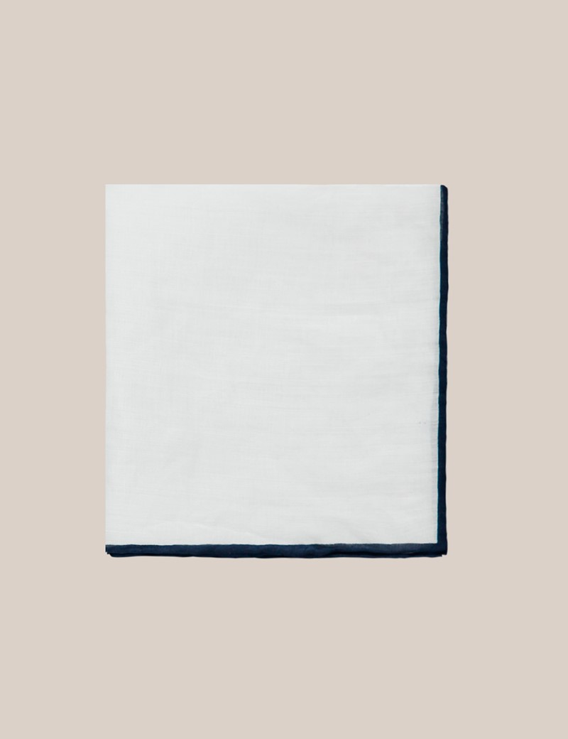 Men's White Linen Pocket Square With Navy Trim - 100% Linen