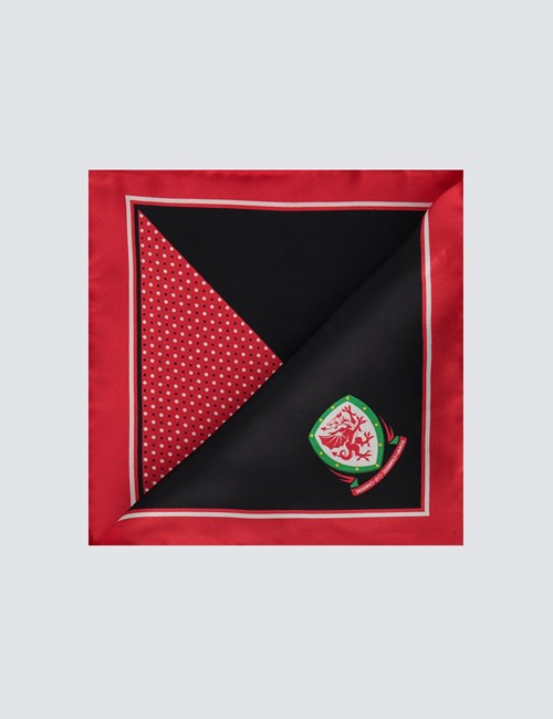 Men's Red, Black & White Wales National Football Pocket Square - 100% Silk