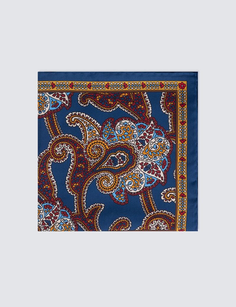 Men's Navy & Red 4 Way Paisley Handkerchief  - 100% Silk