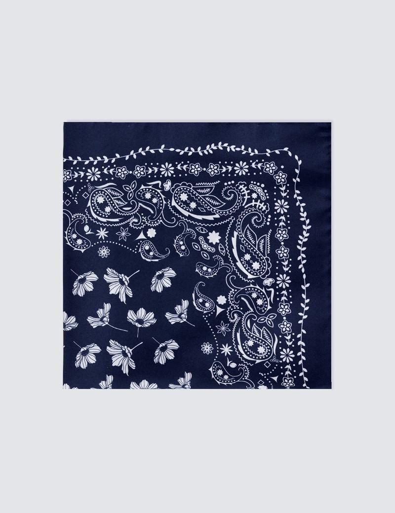 Men's Navy & White Floral Paisley Handkerchief  - 100% Silk