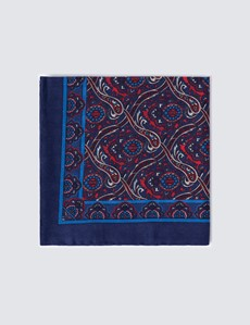 Men's Navy & Pink Geometric Print Handkerchief