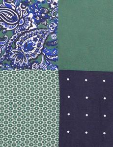 Men's Navy & Green 4 Way Plain Handkerchief  - 100% Silk