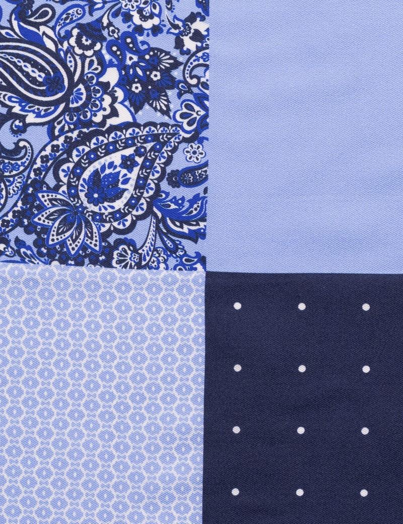 Men's Navy & Light Blue 4 Way Plain Handkerchief  - 100% Silk
