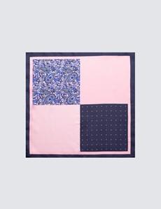 Men's Navy & Light Pink 4 Way Plain Handkerchief  - 100% Silk
