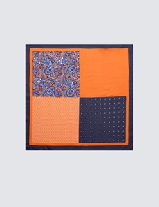 Men's Navy & Orange 4 Way Plain Handkerchief  - 100% Silk