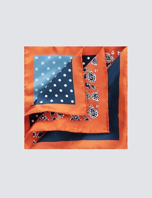 Einstecktuch aus reiner Seide – 4 Motive – Verschiedene Motive orange & navy
