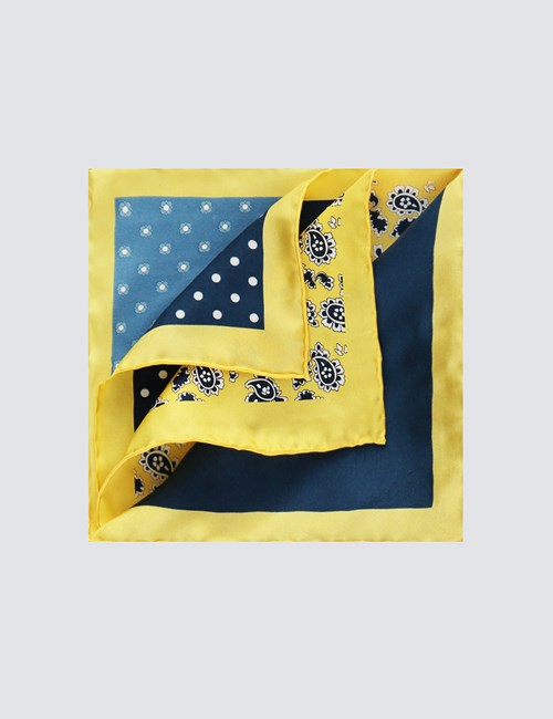 Men's Yellow & Navy 4 Way Floral Pocket Square - 100% Silk