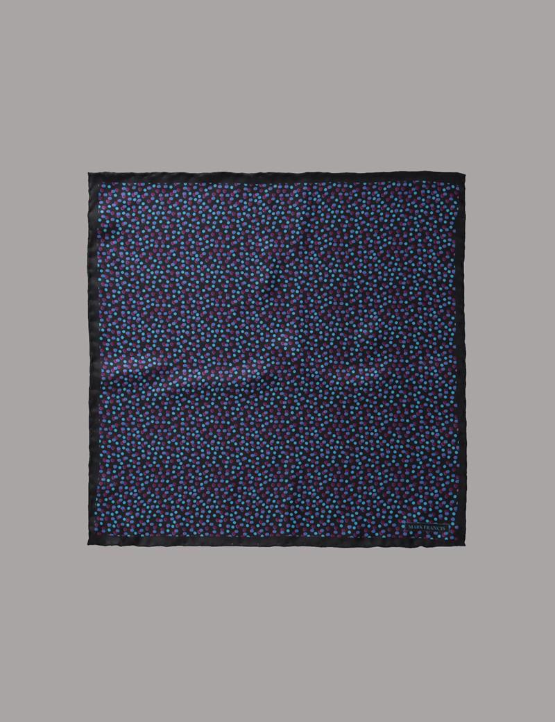 Men's Black & Blue Spots Pocket Square - 100% Silk