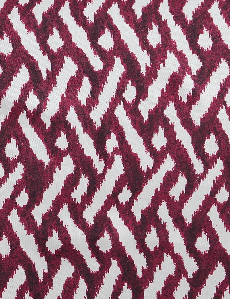 Einstecktuch aus reiner Seide – Modernes Streifenmuster weinrot & weiß