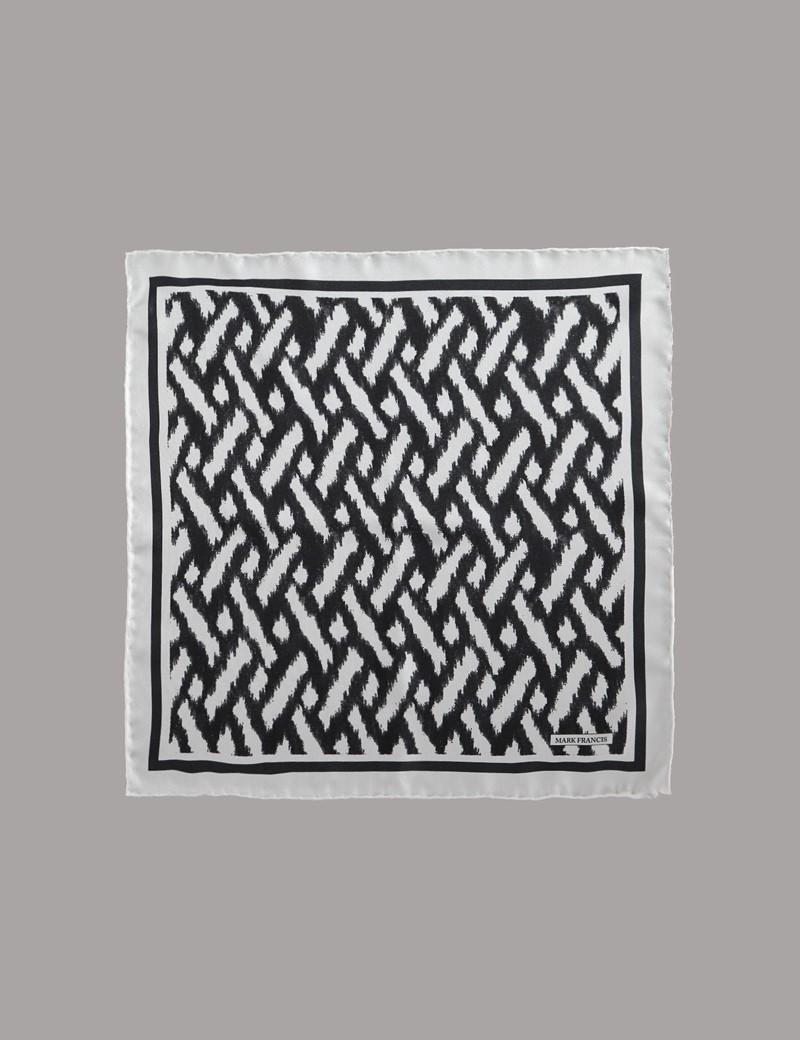 Men's Black & White Print Pocket Square - 100% Silk