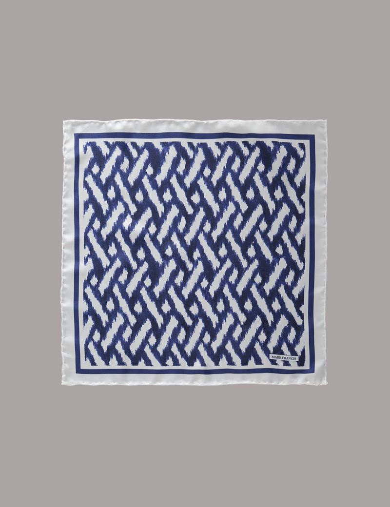 Men's Blue & White Print Pocket Square - 100% Silk