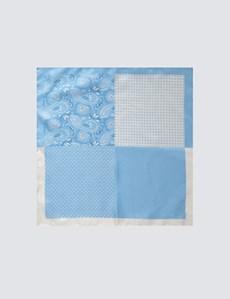 Men's Light Blue 4 Way Geometric Paisley Pocket Square - 100% Silk