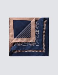 Men's Brown 4 Way Geometric Paisley Pocket Square - 100% Silk