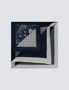 Men's Navy 4 Way Geometric Paisley Pocket Square - 100% Silk