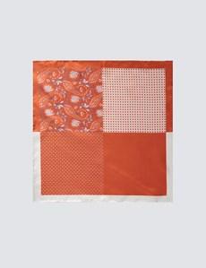 Men's Orange 4 Way Geometric Paisley Pocket Square - 100% Silk