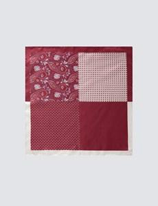Men's Burgundy 4 Way Geometric Paisley Pocket Square - 100% Silk