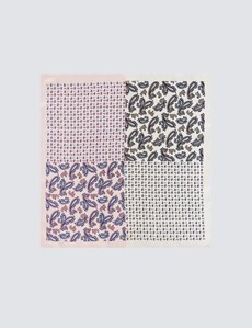 Men's Pink & White 4 Way Paisley Print Pocket Square - 100% Silk