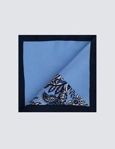 Men's Light Blue 2 Way Floral Print Pocket Square - 100% Silk