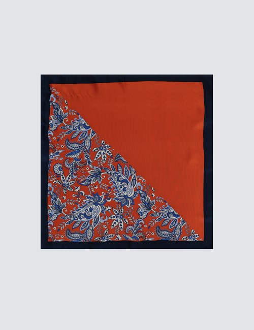 Men's Orange 2 Way Floral Print Pocket Square - 100% Silk
